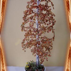 Gyöngyből készített őszi nyírfa  GYV01-3-42, Otthon & lakás, Dekoráció, Dísz, Képzőművészet, Vegyes technika, Lakberendezés, Asztaldísz, Gyöngyfűzés, gyöngyhímzés, Virágkötés, Az őszi fa a természet csodája. Ezt a  gyöngyből megformált nyírfát a kora ősz színei ihlették. Az a..., Meska