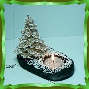 Gyöngyből készített fenyőfa mécsestartó GYV14-5 (gyongyvilag) - Meska.hu