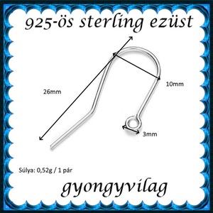 925-ös sterling ezüst ékszerkellék: fülbevalóalap akasztós EFK A 74 - gyöngy, ékszerkellék - egyéb alkatrész - Meska.hu