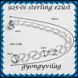 925-ös ezüst lánchosszabbító ELK H 01 (gyongyvilag) - Meska.hu