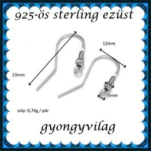 925-ös finomságú sterling ezüst fülbevaló kapocs EFK A 65 - Meska.hu