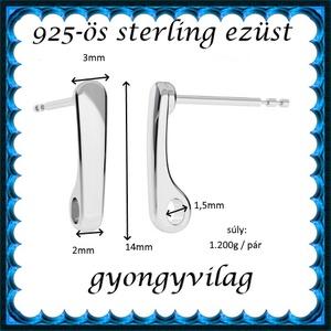 925-ös sterling ezüst ékszerkellék: fülbevalóalap bedugós EFK B 48 - Meska.hu