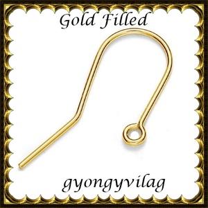 925-ös sterling ezüst ékszerkellék: fülbevalóalap akasztós  EFK A 74 G gold filled, Gyöngy, ékszerkellék, Egyéb alkatrész, Ékszerkészítés, Gyöngy, EFK A 74 G\n\n Két rétegű, 24 karátos arannyal bevont (gold filled) 925-ös ezüst fülbevalókapocs\n\n1 pá..., Meska