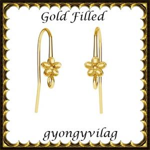 925-ös sterling ezüst ékszerkellék: fülbevalóalap akasztós  EFK A 90 G gold filled, Gyöngy, ékszerkellék, Egyéb alkatrész, Ékszerkészítés, Gyöngy, EFK A 90 G   Két rétegű, 24 karátos arannyal bevont (gold filled) 925-ös ezüst fülbevalókapocs  1 p..., Alkotók boltja