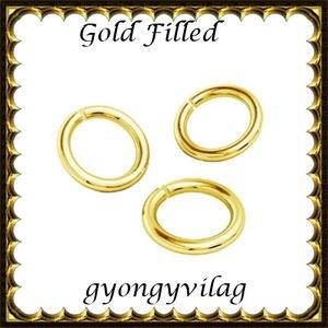 925-ös ezüst karika ESZK NY gold filled 6x0,8, Gyöngy, ékszerkellék, Egyéb alkatrész, Ékszerkészítés, Gyöngy, Két rétegű, 24 karátos arany bevonattal ellátott, 925-ös valódi ezüst (bevizsgált) 6mm külső átmérő..., Alkotók boltja