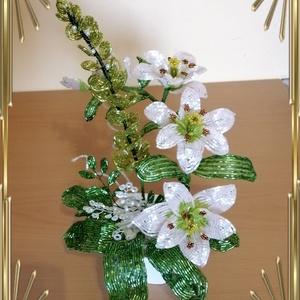 Gyöngyből készített virág kompozíció GYV31, Otthon & Lakás, Csokor & Virágdísz, Dekoráció, Gyöngyfűzés, gyöngyhímzés, Meska