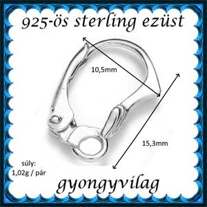 925-ös ezüst fülbevaló kapocs biztonsági kapoccsal EFK K 35 - gyöngy, ékszerkellék - egyéb alkatrész - Meska.hu
