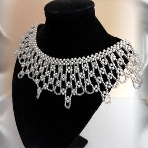 Esküvői csipke hatású nyaklánc SL-GY07 - ékszer - nyaklánc - gyöngyös nyaklác - Meska.hu