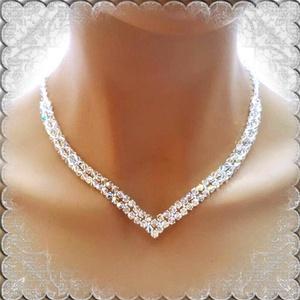 Esküvői, menyasszonyi nyaklánc, swarovszki kristály SL-ESW02-1 - esküvő - ékszer - nyaklánc - Meska.hu