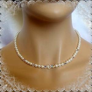 Esküvői, menyasszonyi nyaklánc, swarovszki kristály SL-ESW03-1, Ékszer, Nyaklánc, Esküvő, Esküvői ékszer, Ékszerkészítés, Gyöngyfűzés, gyöngyhímzés, Ezt a klasszikus, szolid nyakláncot 6-5 és 4mm-es  fehér swarovszki tekla gyöngyből és 8-6 és 4-es s..., Meska