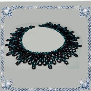 Kásagyöngyből készült apró virág mintás nyaklánc SL-GY07-2, Ékszer, Gyöngyös nyaklác, Nyaklánc, Ékszerkészítés, Gyöngyfűzés, gyöngyhímzés, Meska