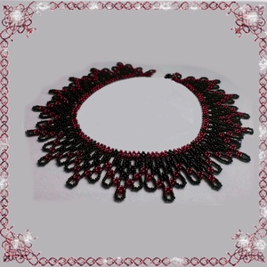 Kásagyöngyből készült apró virág mintás nyaklánc SL-GY07-3, Ékszer, Gyöngyös nyaklác, Nyaklánc, Ékszerkészítés, Gyöngyfűzés, gyöngyhímzés, Meska