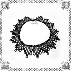 Kásagyöngyből készült apró virág mintás nyaklánc SL-GY07-5, Ékszer, Gyöngyös nyaklác, Nyaklánc, Ékszerkészítés, Gyöngyfűzés, gyöngyhímzés, Meska