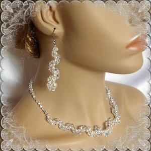 Esküvői, menyasszonyi, alkalmi ékszer szett, swarovszki kristály SSZ-ESW03-1, Ékszer, Nyaklánc, Esküvő, Esküvői ékszer, Ékszerszett, Ékszerkészítés, Gyöngyfűzés, gyöngyhímzés, Ezt a elegáns,  csillogó szettet 4-5-6 és 8mm-es-es swarovszki gyöngyből, crystal AB bevonatos bikon..., Meska