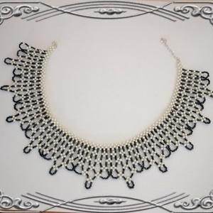 Gyöngyből fűzött csipke hatású nyaklánc SL-GY07-7 - ékszer - nyaklánc - gyöngyös nyaklác - Meska.hu
