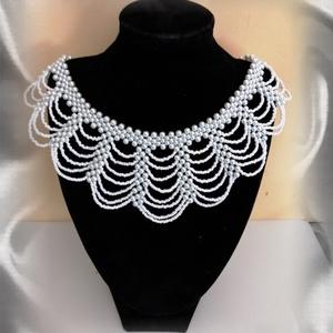 Esküvői gyöngy nyaklánc SL-GY09-1-40, Esküvő, Nyaklánc, Ékszer, Ékszerkészítés, Gyöngyfűzés, gyöngyhímzés, Meska