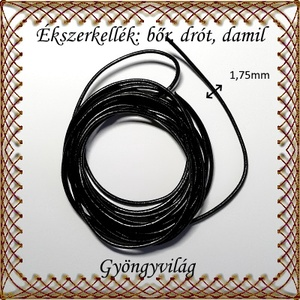 Ékszerkellék: fényezett valódi bőr szál FSZ03-1,75 fekete 1,75mm-es - gyöngy, ékszerkellék - egyéb alkatrész - Meska.hu