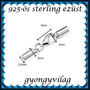 925-ös sterling ezüst ékszerkellék: láncvég + kapocs ELK K+V 04-2,5 2,5mm-es - Meska.hu