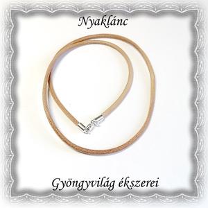 Valódi bőr nyaklánc 925-ös sterling ezüst kapoccsal SL-EB03-45 világos barna, Ékszer, Medál nélküli nyaklánc, Nyaklánc, Ékszerkészítés, Gyöngyfűzés, gyöngyhímzés, Meska