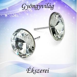 925-ös sterling ezüst-Swarovszki kristály fülbevaló SF-ESWR01-16, Ékszer, Pötty fülbevaló, Fülbevaló, Ékszerkészítés, Gyöngyfűzés, gyöngyhímzés, Meska