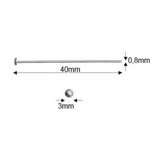 925-ös sterling ezüst ékszerkellék: szerelőpálca szög végű 40  x 0,8mm-es  - gyöngy, ékszerkellék - egyéb alkatrész - Meska.hu