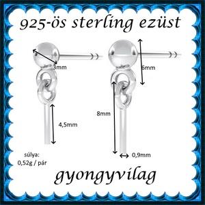 925-ös ezüst fülbevaló kapocs EFK B 54 - Meska.hu
