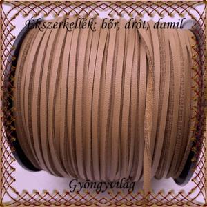 Ékszerkellék:hasított valódi bőr szál FSZ01-3 barna , Gyöngy, ékszerkellék, Egyéb alkatrész, Ékszerkészítés, Fűzőszál, Barna 3mm-es hasított bőr szál méterben.\n\n\nA méreteket a fotón láthatod!\n\n\nAr ár 1cm bőrre vonatkozi..., Meska