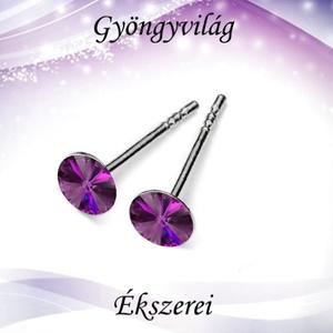Fülbevalók: Swarovski rivoli, 925-ös sterling ezüst SFE-SWF01 több színben, Ékszer, Pötty fülbevaló, Fülbevaló, Ékszerkészítés, Gyöngyfűzés, gyöngyhímzés, Meska