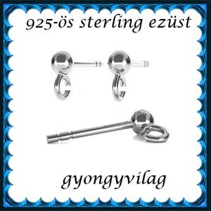 925-ös ezüst fülbevaló kapocs EFK B 01-1-3 - gyöngy, ékszerkellék - egyéb alkatrész - Meska.hu