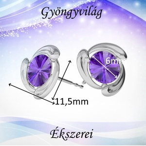 Fülbevalók: Swarovski rivoli, 925-ös sterling ezüst SFE-SWF02 több színben - ékszer - fülbevaló - pötty fülbevaló - Meska.hu