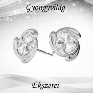 Fülbevalók: Swarovski rivoli, 925-ös sterling ezüst SFE-SWF02 több színben, Ékszer, Pötty fülbevaló, Fülbevaló, Ékszerkészítés, Gyöngyfűzés, gyöngyhímzés, Meska