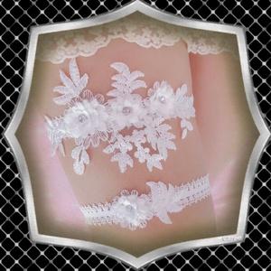 Esküvői, menyasszonyi harisnyakötő szett  ES-HK04-1, Esküvő, Harisnyatartó & Valami kék, Kiegészítők, Ékszerkészítés, Gyöngyfűzés, gyöngyhímzés, Meska