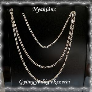 925-ös sterling ezüst lánc SSZ EÜL 03-63, Ékszer, Párhuzamos nyaklánc, Nyaklánc, Ékszerkészítés, Gyöngyfűzés, gyöngyhímzés, Meska