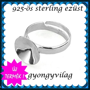 925-ös sterling ezüst gyűrű alap EGY 05-14 állítható méret, Gyöngy, ékszerkellék, Fém köztesek, Ékszerkészítés, Mindenmás, Szerelékek, EGY 05-14\n\n925-ös valódi ezüst (bevizsgált) gyűrű alap  14mm-es rivolihoz .\n\n1 db / csomag\n\nMérete á..., Meska