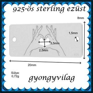 925-ös sterling ezüst ékszerkellék: gravírozható lap EGL 01e - gyöngy, ékszerkellék - fém köztesek - Meska.hu