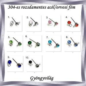 Nemes acél ékszerkellék: fülbevaló alap NAFK 06-4  1pár/cs - gyöngy, ékszerkellék - egyéb alkatrész - Meska.hu
