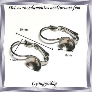 304 Nemes acél ékszerkellék: fülbevaló alap NAFK 07-8 1pár/cs - gyöngy, ékszerkellék - egyéb alkatrész - Meska.hu