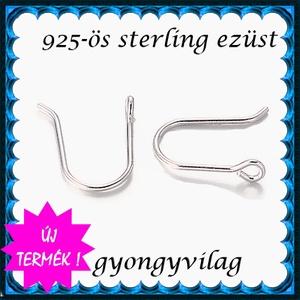 925-ös sterling ezüst ékszerkellék: fülbevalóalap akasztós EFK A 97r - gyöngy, ékszerkellék - egyéb alkatrész - Meska.hu