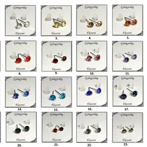 Kristály köves  fülbevaló több színben SFEB-K14-4, Ékszer, Fülbevaló, Pötty fülbevaló, Ékszerkészítés, Gyöngyfűzés, gyöngyhímzés, Meska