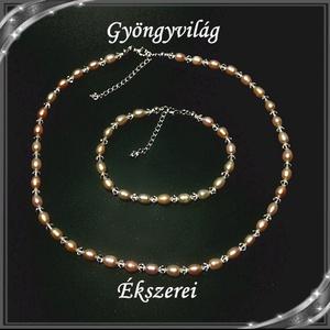 Édesvizi igazgyöngy-swarovski nyaklánc-karkötő szett, 925-ös ezüst kapoccsal SSZE-IG02-1 7x5,5 mauve - Meska.hu