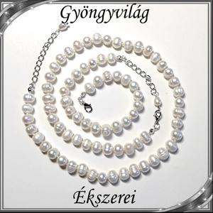 Édesvizi igazgyöngy szett, ezüstözött kapoccsal SSZEB-IG05 7x8 fehér - ékszer - ékszerszett - Meska.hu