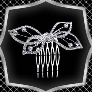 Ékszerek-hajdíszek, hajcsatok: Esküvői, menyasszonyi, alkalmi hajdísz ES-H-FÉ12e, Esküvő, Hajdísz, Fésűs hajdísz, Ékszerkészítés, Gyöngyfűzés, gyöngyhímzés, Meska