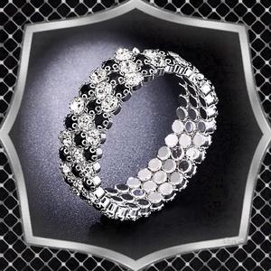 Három soros kristály karkötő ES-K03e fehér fekete, Ékszer, Karkötő, Széles karkötő, Ékszerkészítés, Gyöngyfűzés, gyöngyhímzés, Meska