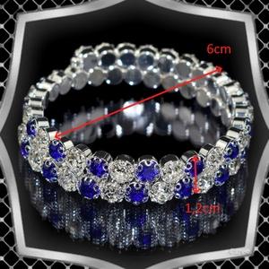 Két soros kristály karkötő ES-K03-2e fehér-kék - Meska.hu