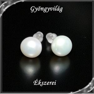 Fülbevalók: igazgyöngy , 925-ös sterling ezüst SFE-IGY02-8 , Ékszer, Fülbevaló, Pötty fülbevaló, Ékszerkészítés, Gyöngyfűzés, gyöngyhímzés, Meska