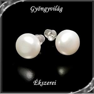 Fülbevalók: igazgyöngy , 925-ös sterling ezüst SFE-IGY02-9 - ékszer - fülbevaló - pötty fülbevaló - Meska.hu
