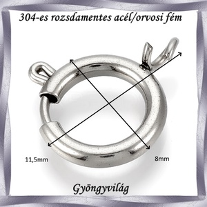 304 Nemes acél ékszerkellék: lánckapocs NALK 04-8 1db/ csomag - gyöngy, ékszerkellék - egyéb alkatrész - Meska.hu