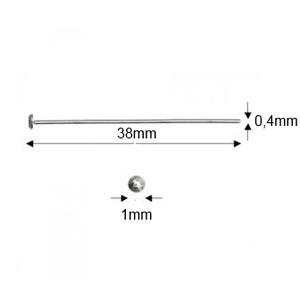 925-ös sterling ezüst ékszerkellék: szerelőpálca szög végű ESZP SZ 38x0,4 mm-es  4db/cs - gyöngy, ékszerkellék - egyéb alkatrész - Meska.hu