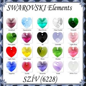 Swarovski kristály medál: SWM szív (6228) 14mm-es több színben - gyöngy, ékszerkellék - swarovski kristályok - Meska.hu