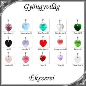 Ékszerek-medálok: Swarovski kristály medál -18mm-es szív több színben, Ékszer, Medál, Nyaklánc, Ékszerkészítés, Gyöngyfűzés, gyöngyhímzés, Meska
